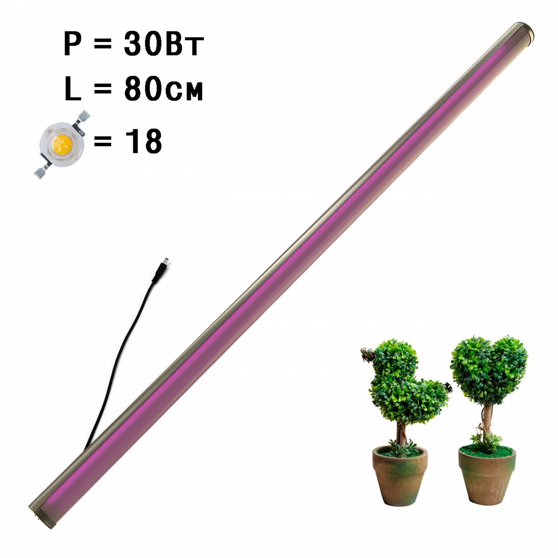 Фитолампа линейная для растений MiniFermer интерьерная 30 Ватт_80 см 18 led (Спектр на выбор - Биколор, Фулл, Фулл x2. Суккуленты)