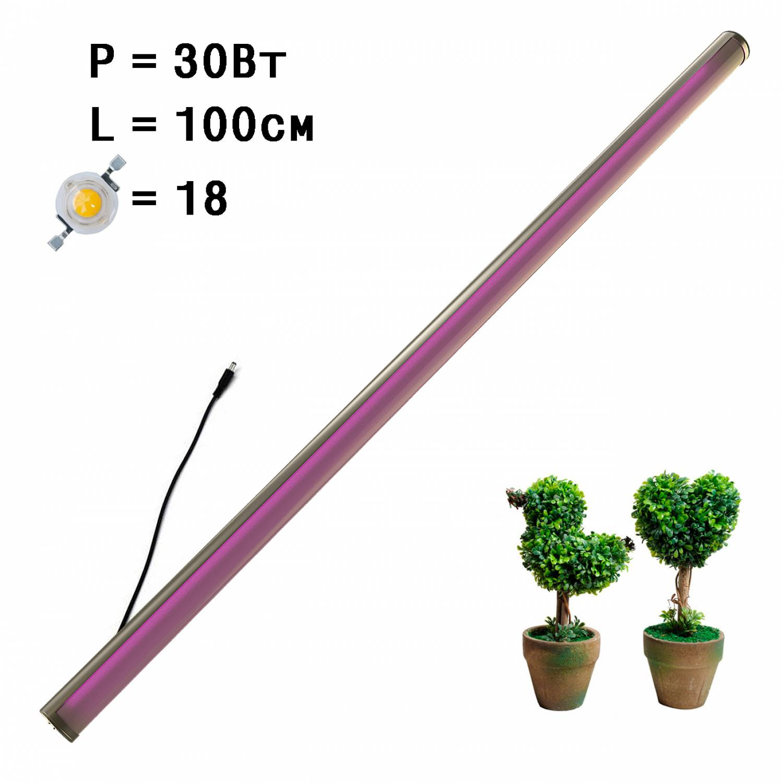 Фитолампа линейная для растений MiniFermer интерьерная 30 Ватт_100 см 18 led (Спектр на выбор - Биколор, Фулл, Фулл x2. Суккуленты)