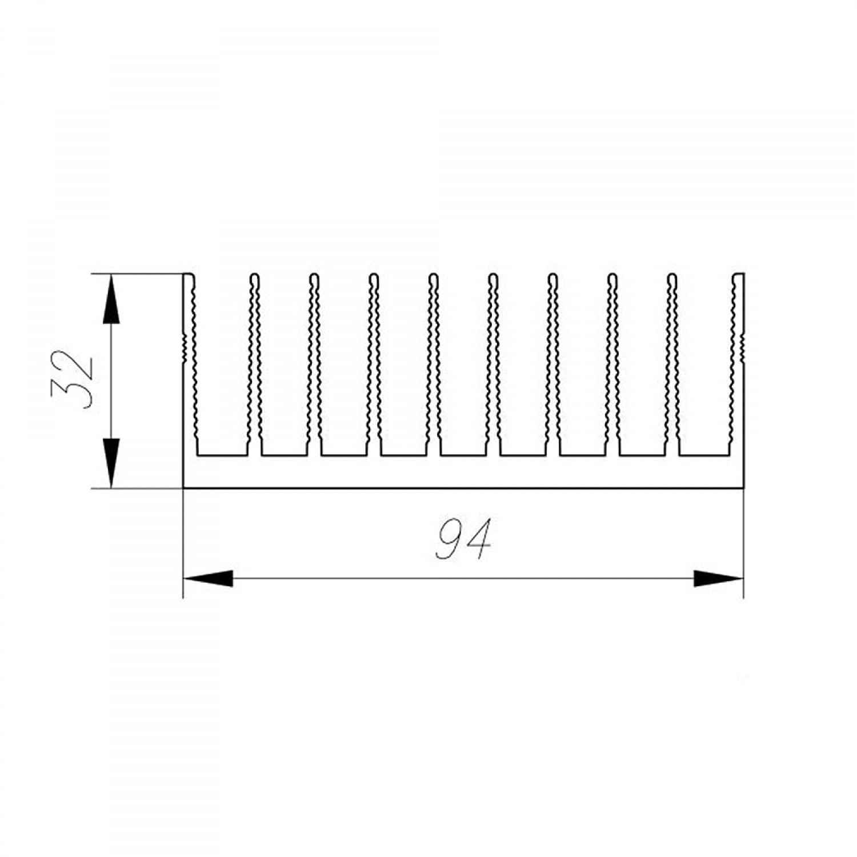 Профиль алюминиевый  94 мм * 32 мм *  2,4 кг