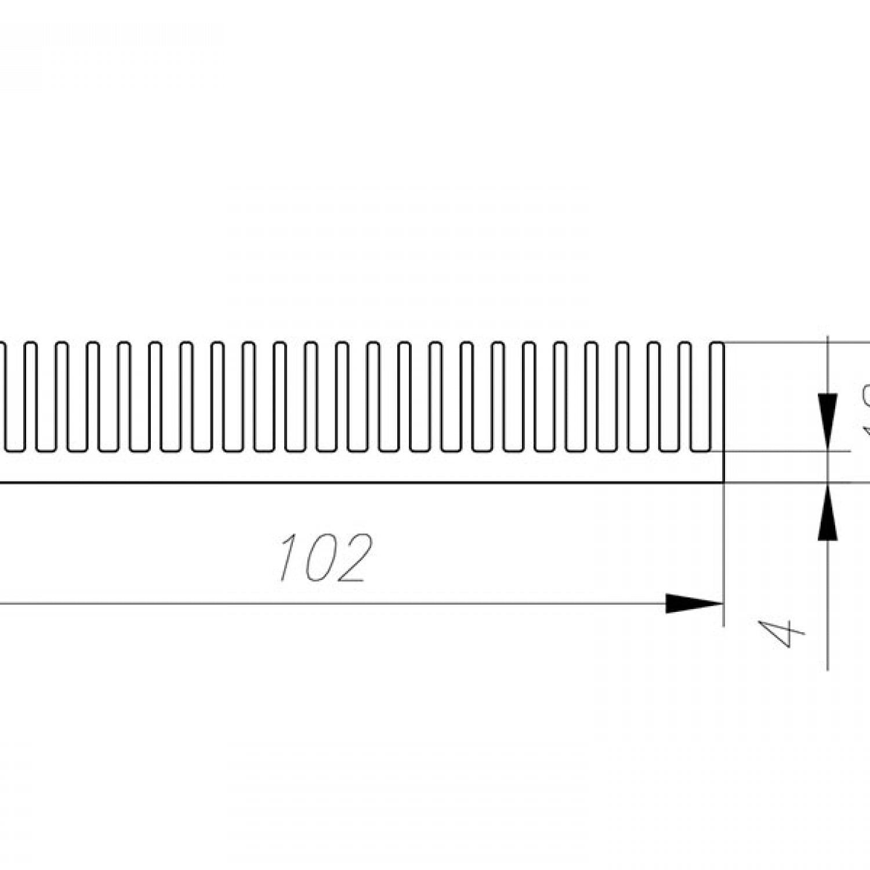 Профиль алюминиевый  102 мм * 18 мм *  2,6 кг