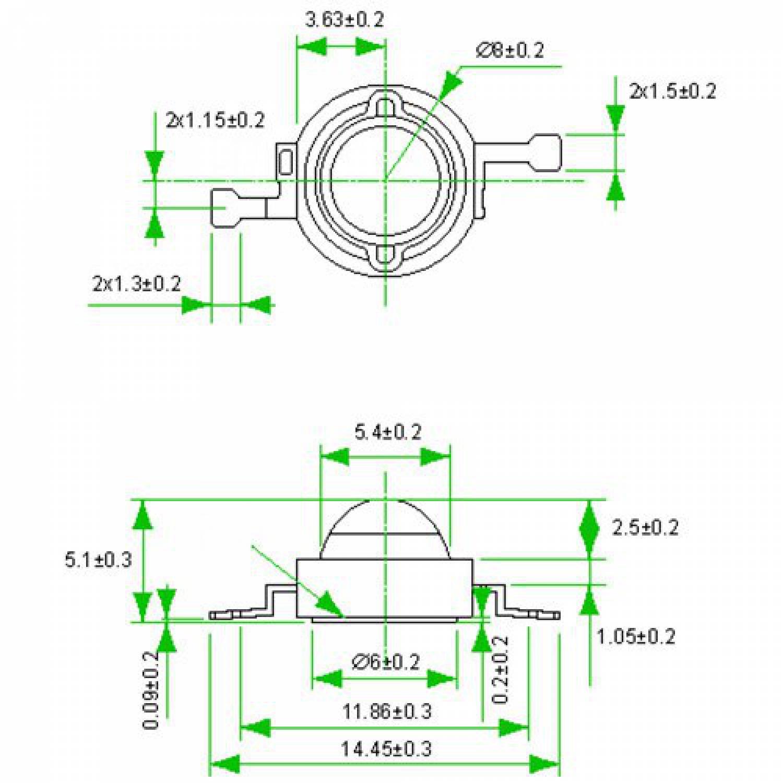 Фито светодиод 3 Вт 630 нм. без PCB