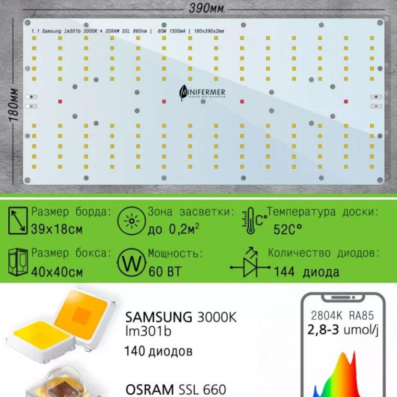 1.1 Quantum board 180 х 390 Samsung lm301b 3000K + Osram SSL 660nm
