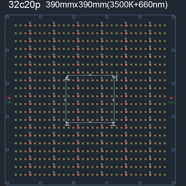 120.39 Quantum board 390 х 390 Samsung lm281 3500K + 660 nm 2835