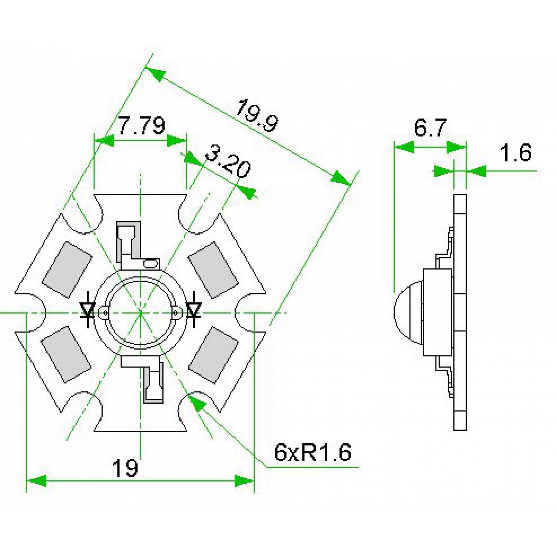 """Фито светодиод 3Вт, 1800К на подложке PCB """"звезда"""""""