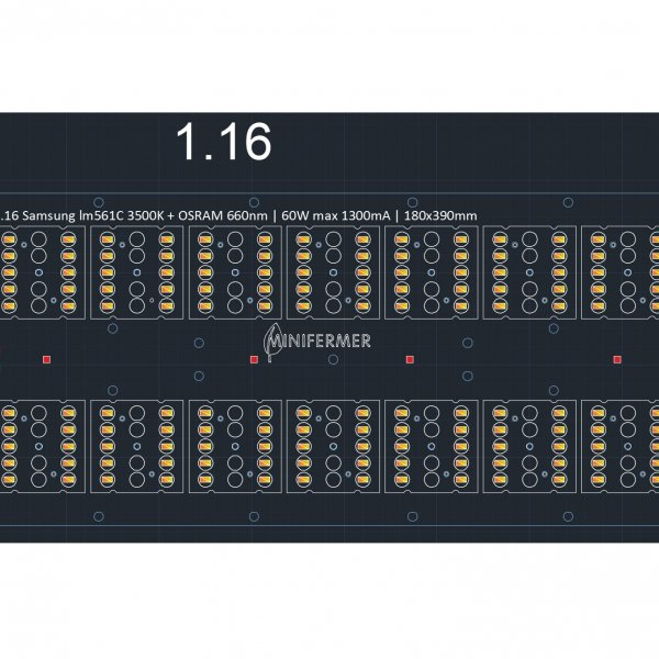 1.16 Quantum board 180 х 390 Samsung lm561с 3500K + Osram SSL 660nm