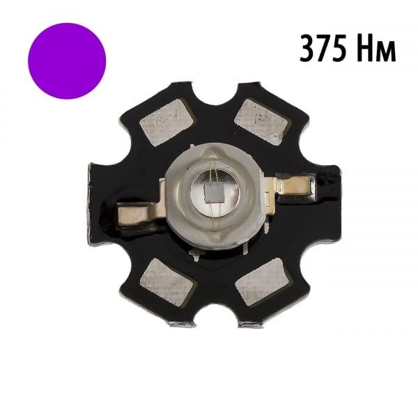"""Фито светодиод 3 Вт UV 370-375 нм. (ультра-фиолет) на PCB """"звезда"""""""