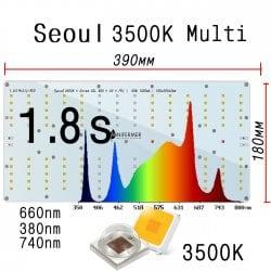 1.8s MULTI-RED Quantum board 180 х 390 Seoul 3500K + UV380+FR740 + OSRAM 660nm