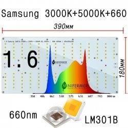 ТЕСТОВЫЙ МОДУЛЬ 1.6 Quantum board 180 х 390 Samsung lm301b 3000K+5000K + Samsung lh351h 660nm