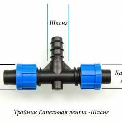"""Тройник для подводки шланга 20мм"""" на две капельные ленты 16мм"""