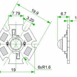 "Фито светодиод 3 Вт 660 нм. (красный) на PCB ""звезда"""