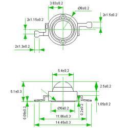 Фито светодиод 3 Вт 6000-6500K (холодный белый) без PCB