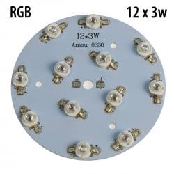 Модуль круглый 12x3 Ватт RGB 660nm+450nm+520nm